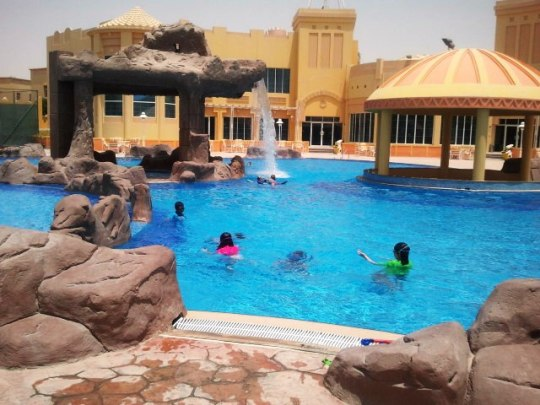 Enjoying the beautiful facilities at another swim morning.